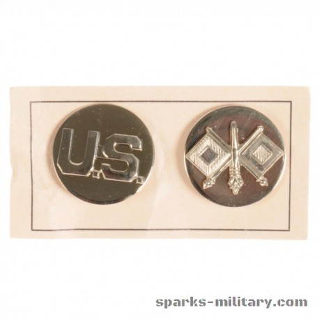 US Army BOS Signal Corps Colar Disc Silber