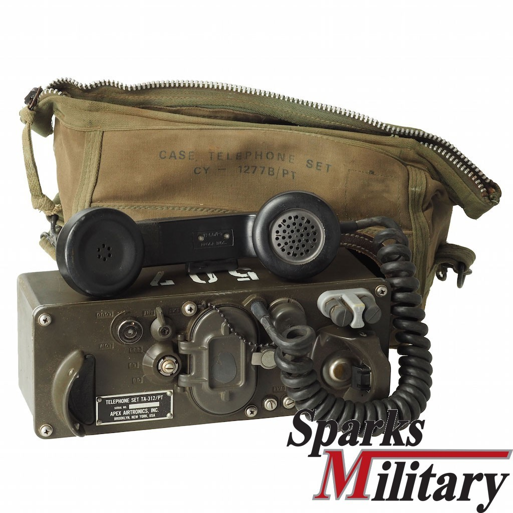 US Military Field Telephone Set TA-312/PT with Canvas Pouch