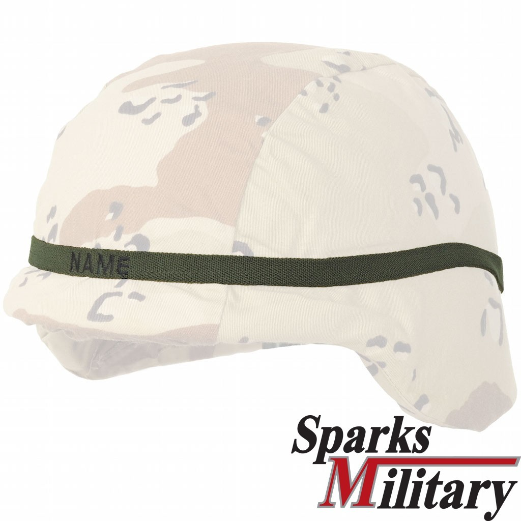 Cat Eye Helmet Band in OD green embroidered with name