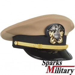 US Navy Khaki Officer Visor Cap