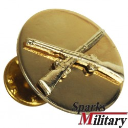 US Army polish brass BOS Infantry Collar Disc for Gala Uniform with logo crosst Rifles