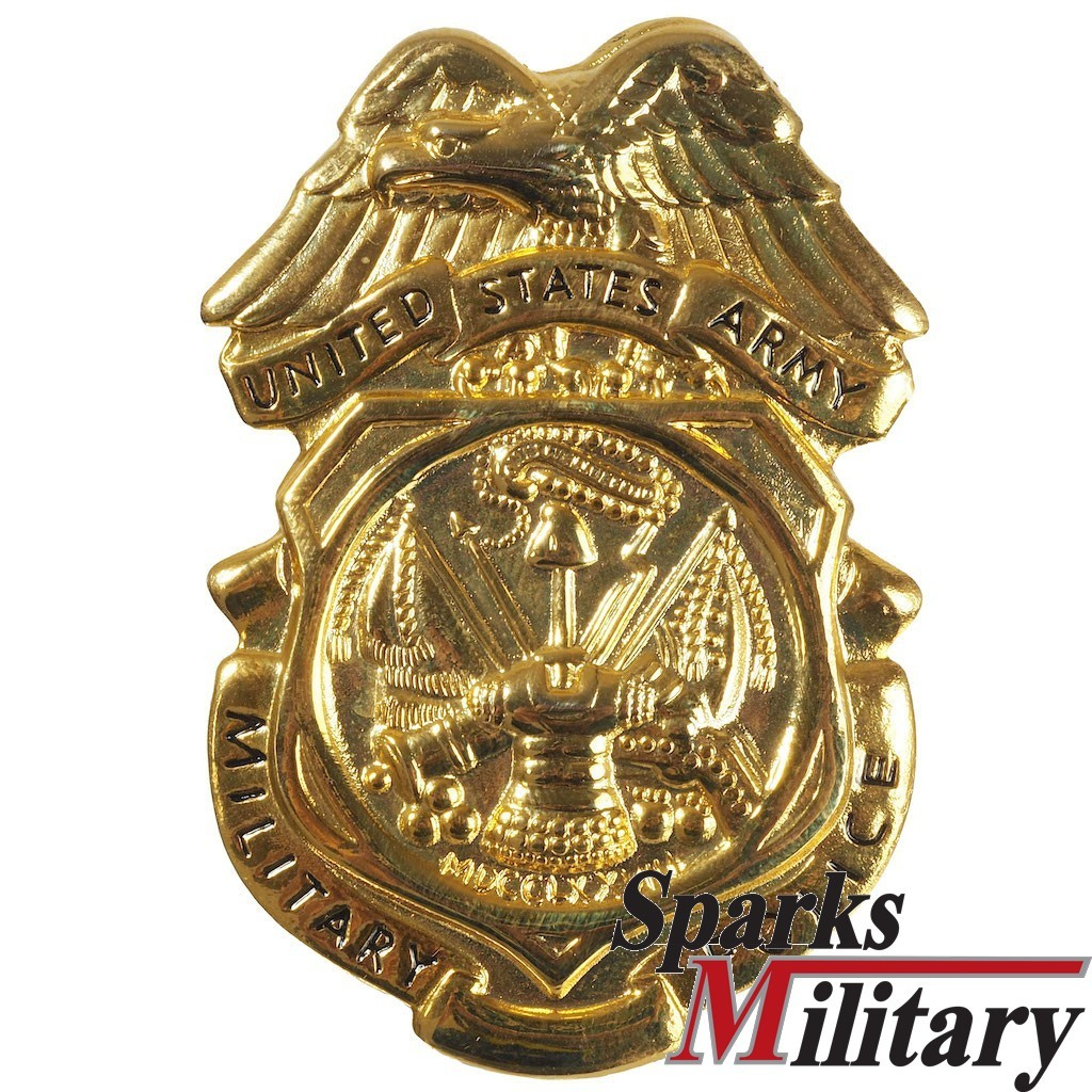 US Army Military Police Metal pin on Cloth Badge in oxidized silver and gold
