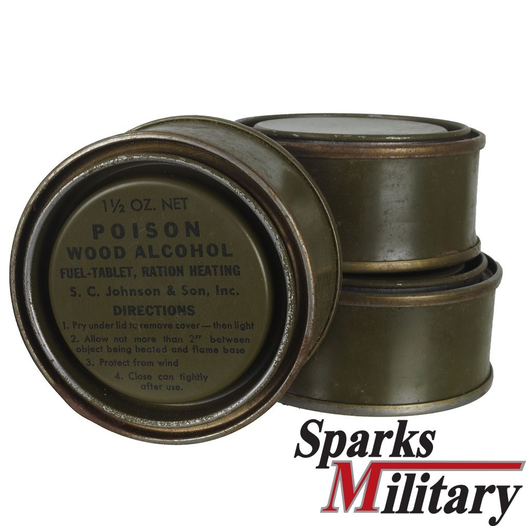 US Military Wood Alcohol Fuel-Tablet, Ration Heating