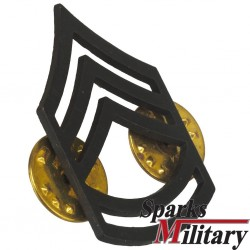 Sergeant First Class black metal collar pin
