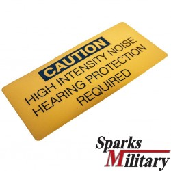 Caution sticker Hearing Protection Required in yellow