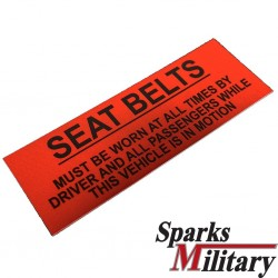 Seat Belts must worn at all times