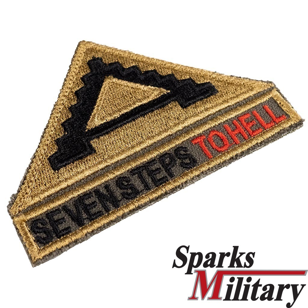 Patch with velcro 7th US Army shoulder Insignia and Tab seven steps to hell Tan 499