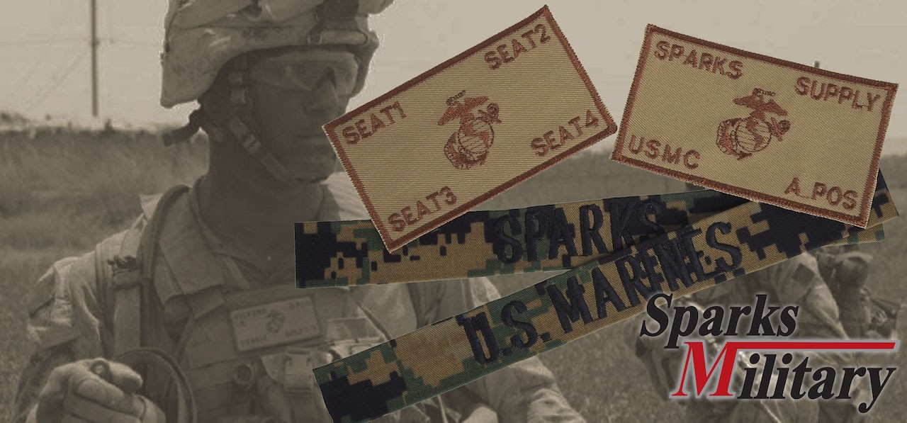 US Marine Name Tab and Name Patch with Velcro in sand and Marpat Camouflage