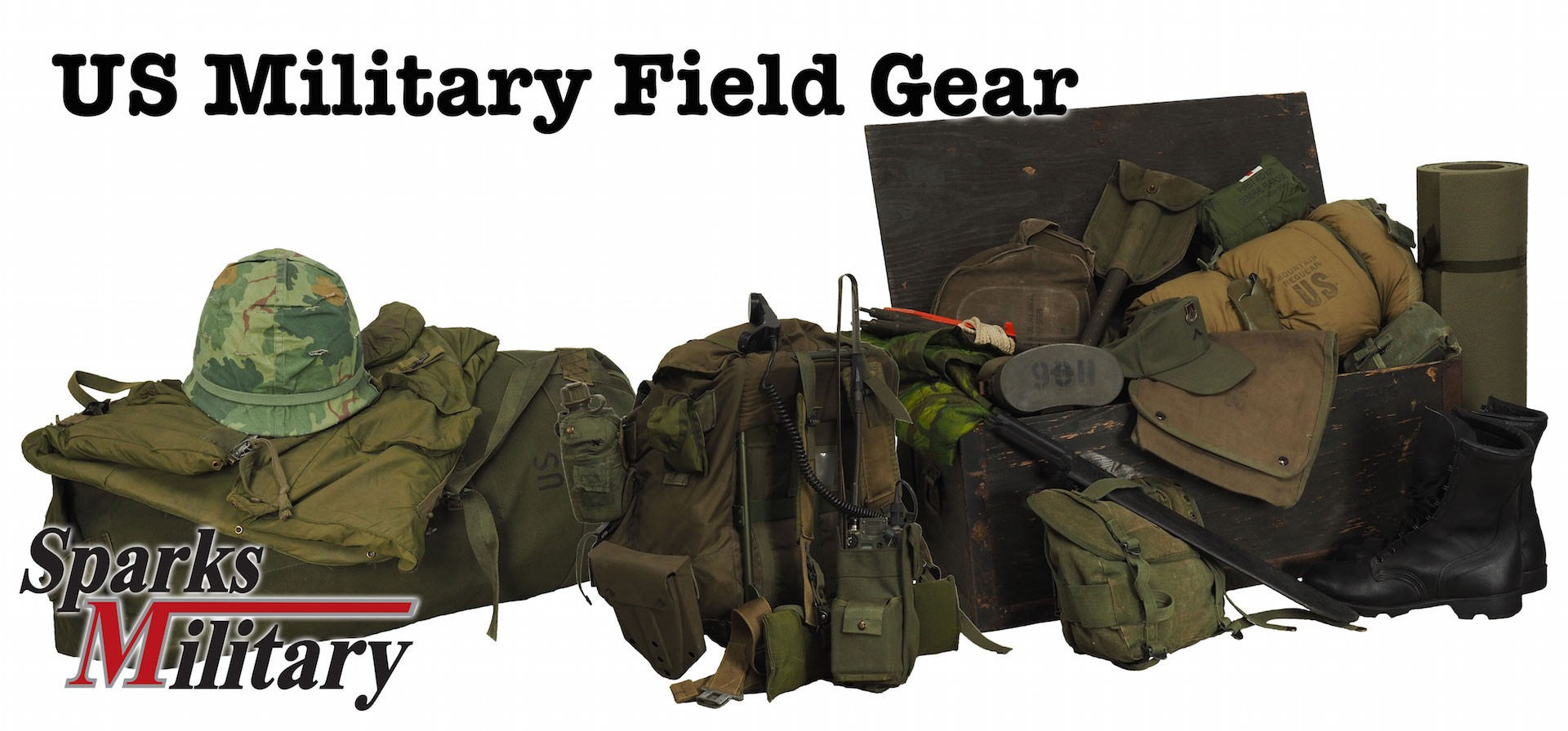 US military equipment, vest and equipment such as backpacks or bags, helmets and sleeping bags and also radio and binoculars